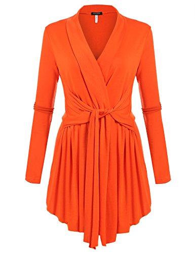 ACEVOG Women's Long Sleeve Open Front Lightweight Drape Soft Cardigan Orange Large - Cardigan Sweater Dress