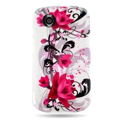 WIRELESS CENTRAL Brand Hard Snap-on Shield With RED FLOWER ON WHITE Design Faceplate Cover Sleeve Case for ZTE Z990 AVAIL (AT&T) /990G MERIT with TRI Removal Tool Case [WCE1179] ()