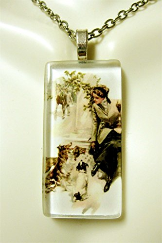 (An attentive crowd at the stable glass pendant - DGP02-400 - Harrison Fisher)