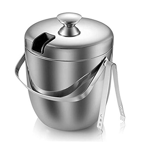 FC Double Wall Ice Bucket with Tong 3 Litre/0.8 Gal Stainless (High Ice Bucket)