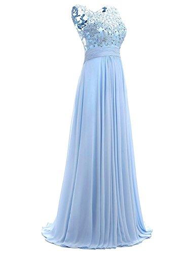 Damen Cocktailkleider Spitze Lange Chiffon HochzeitsKleid Beyonddress Silber Elegant Perlstickerei Abendkleider vdRwf
