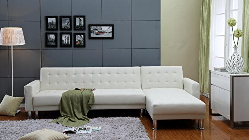 Bicast 2 (Russ160 the-Hom Marsden 2-piece White Tufted Bi-cast Leather Sectional Sofa Bed)