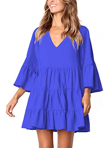 Amoretu Womens Tunic Dresses V Neck Bell Sleeves Shift Swing Tunic Dress (Blue, XL)