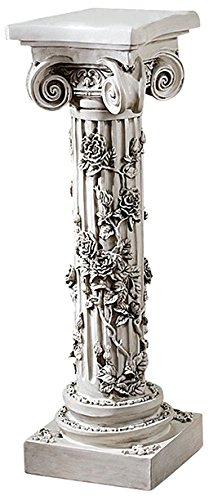 Design Toscano EU2866 Rose Garland Pedestal Plant Stand, 34 Inch, Antique Stone