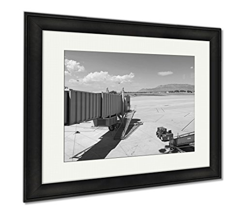 Ashley Framed Prints Airport Terminal Through The Window, Wall Art Home Decoration, Black/White, 26x30 (frame size), Black Frame, - Airport Shops Albuquerque
