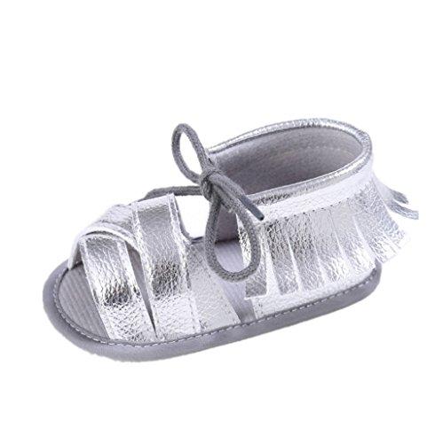 Baby Schuhe Auxma Baby Mädchen Sommer Quasten Sandalen Schuhe Prewalker für 3-6 6-12 12-18 Monat (3-6 M, Silber) Silber