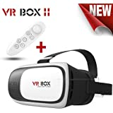 Captcha 2Nd Generation VR Headset Virtual Reality 3D Glasses Google Cardboard Vr Box Adjustable 4.7~6 Inch Screen Phones With Mini Gamepad (Black & White)