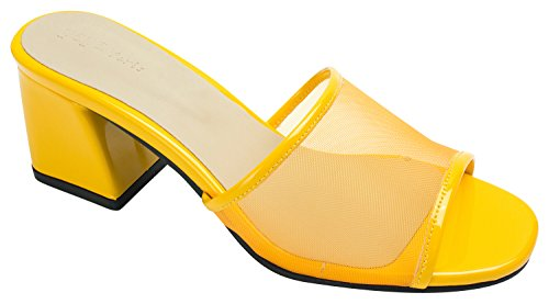 Annakastle Mujeres Mesh Strap Heel Mule Sandal Yellow