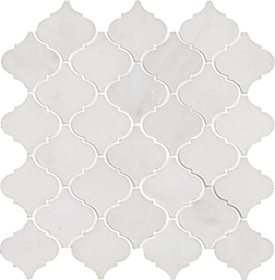 M S International Arabescato Carrara Arabesque 12 In. X 12 In. X 10 mm Polished Marble Mesh-Mounted Mosaic Floor And Wall Tile, (10 sq. ft, 10 pieces per case), White