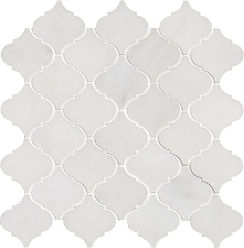 M S International Arabescato Carrara Arabesque 12 In. X 12 In. X 10 mm Polished Marble Mesh-Mounted Mosaic Floor And Wall Tile, (10 sq. ft., 10 pieces per case), White by MS International