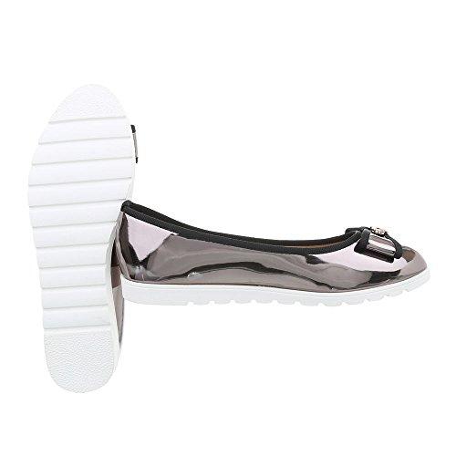 Ital piatto Argento classiche J13c donna Scarpe da Grigio Ballerine Ballerine Design wpTaqw