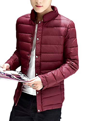 Wine Stand security Quilted Winter Mens Zip Collar Coat Warm Red Down Leisure Jacket OPwnBqafx