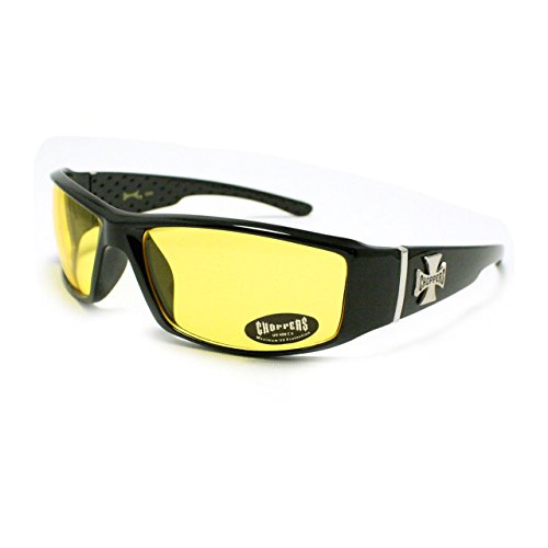(Mens Choppers Sunglasses Biker Motorcycle Logos Cross All Black Yellow Lens)