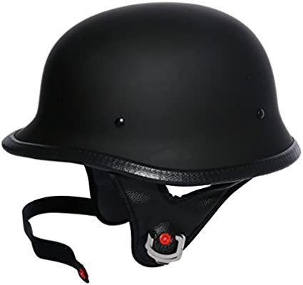 Motorcycle Gloss Black DOT German Half Face Helmet Chopper Cruiser Biker M L XL
