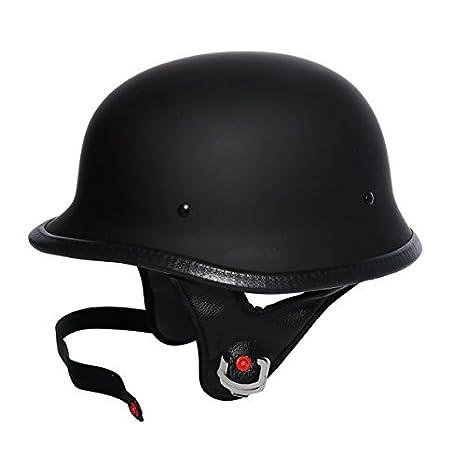 1959d4cf08ac Amazon.com  TCMT Dot Adult German Style Matte Black Half Helmet Motorcycle  Chopper Cruiser Biker Helmet XL  Automotive