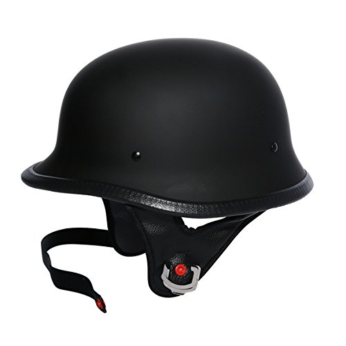 (TCMT DOT German Motorcycle Street Half Helmet Chopper Cruiser Biker (L))