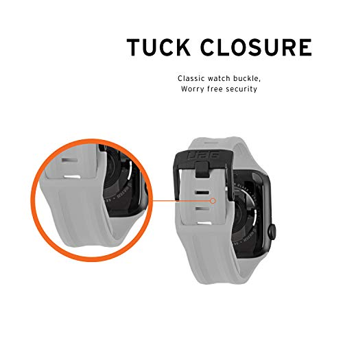 URBAN ARMOR GEAR UAG Compatible with Apple Watch 44mm 42mm Series 5/4/3/2/1 Silicone Band Scout [Silver] Slim Adjustable Waterproof Sporty Replacement Watch Strap