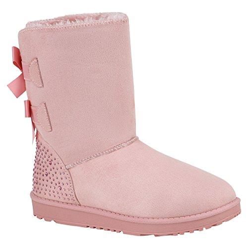 Stiefelparadies Warm Gefütterte Stiefel Damen Stiefeletten Schleifen Satinoptik Schuhe Bequeme Schlupfstiefel Kuschelig Warme Boots Flandell Rosa Camiri