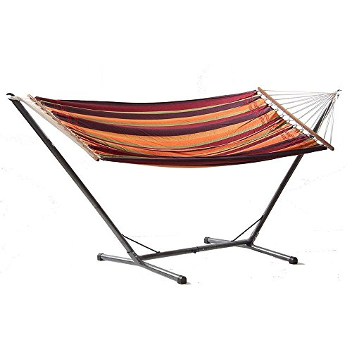 Brasilia Hammock and Ceara Stand Set by Byer of Maine, Handwoven, Hybrid Polyester/Cotton Blend, Tropical, Extra Wide Single Size, Spreader Bar,Adjustable Length,Powder Coated Steel,Holds up to 330lbs