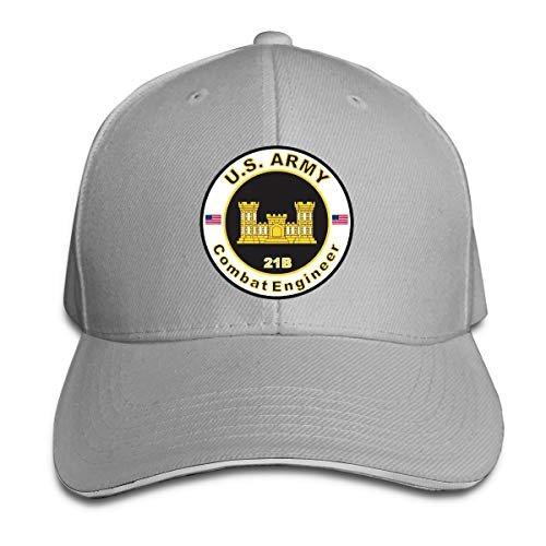 Army MOS 21B Combat Engineer Adjustable Baseball Caps Vintage Sandwich Cap Gray ()