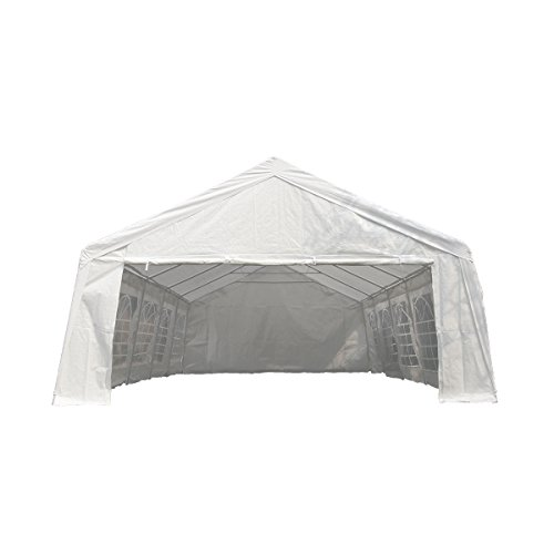 U-LALA 32'D x 20'W/32'D x 16'W Heavy Duty Outdoor White Wedding Party Tent Carport Canopy with Sidewalls (32' L 16' (Plastic Party Tents)