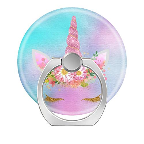 Lovesup Expanding 360 Rotation Cell Phone Socket Ring Holder,Mobilephone Kickstand Pop Grip with Car Mount for All Smartphones,Cases,Tablets-Unicorn Face Horn Lashes Pink Flowers Gold Aqua