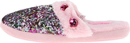 M & F Västerländska Kvinnor Paljett & Rhinestone Glid Tofflor Rosa / Multi Toffel Lg (oss Kvinna 9-10) M