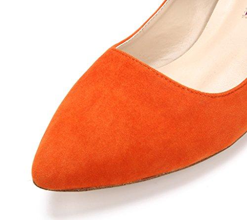 Katypeny Women's Vintage Shallow Mouth Slip On Pointed Toe Stiletto Mid Heel Pump Shoes Orange 8rFnvp6vEV