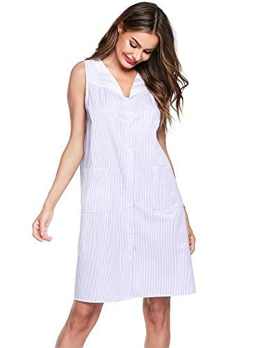 Ekouaer Womens Striped Sleepwear Button Down House Dress Sleeveless Duster Nightgown S-XXL
