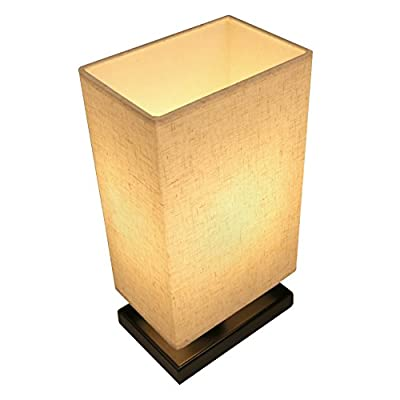 Nightstand Lamp Seealle Bedside Table Lamp with Linen Fabric Shade Wood Desk Lamp For Dinning Table,Coffee Table,Bedroom,Living Room,Office