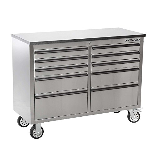 OEMTOOLS 24614 Drawer Cabinet (46 Inch 10-Stainless Steel)