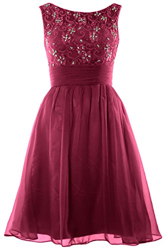 Short Lace Homecoming Beading Dress MACloth Weinrot Wedding Bridesmaid Boat Women Neck twnPXq