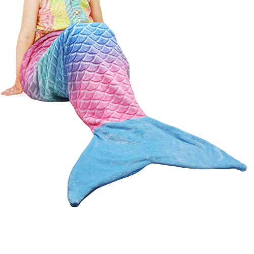 Catalonia Kids Mermaid Tail Blanket,Super Soft Plush Flannel Sleeping Snuggle Blanket for Girls,Rainbow Ombre,Fish Scale Pattern,Gift -