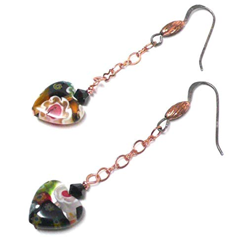 Millifiore 12mm Glass Heart Earrings Copper Chain Sterling Silver