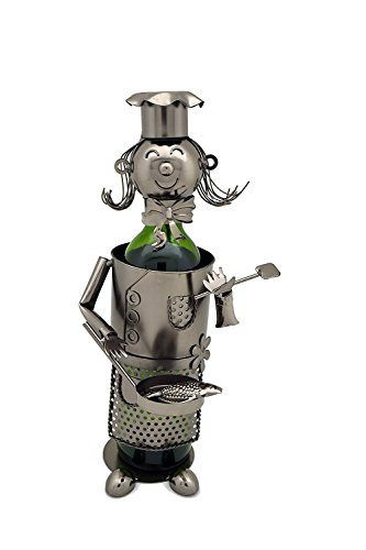 (WINE BODIES ZB1350 Lady Chef Metal Wine Bottle Holder, Charcoal)