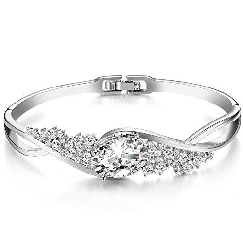 (Menton Ezil Diamond Silver Women Bracelet with Swarovski Crystal, Victorian Revival Bangle, April Birthstone)