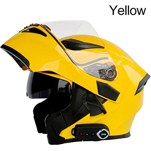 Bluetooth Integrated Modular Flip up Full Face Motorcycle Helmet Sun Shield Mp3 Intercom (Yellow, XL)