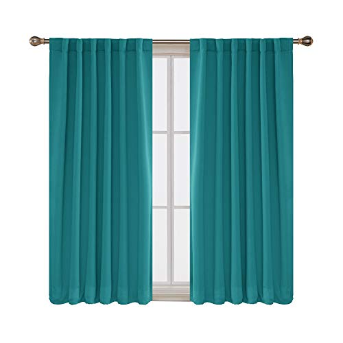 Deconovo Solid Back Tab and Rod Pocket Room Darkening Shades Insulated Thermal Window Coverings Blackout Curtains for Living Room 52x63 Inch Turquoise 2 Panels