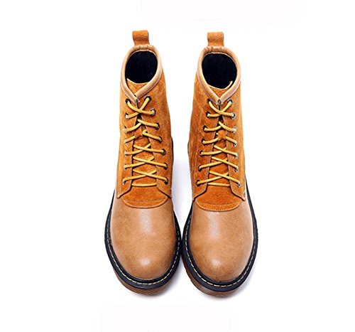 KUKI Damenschuhe, Damenstiefel, Stiefel, Martin Stiefel, rau mit, kurze Stiefel, reiben Farbe, runden Kopf, Spitze, Mode, wild khaki