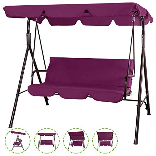 Flex HQ Patio Porch Swing Chair Canopy Outdoor Lounge 3-Person Seat Hang Bench Hammock Burgundy