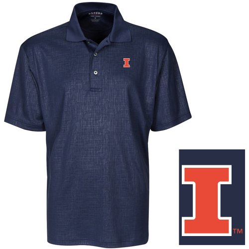 (NCAA Illinois Fighting Illini Men's Cross Hatched Embossed Polo Shirt, Classic Navy, Small)