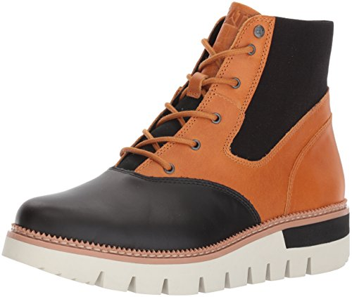 - Caterpillar Women's Knockout Leather Lace up Fashion Ankle Boot, Black/Tan, 8.5 Medium US