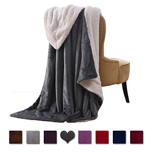 - VOTOWN HOME Throw Blanket Sherpa Ultra Soft Micro-Plush Flannel Reversible Warm Blanket for Couch Fleece Blanket All Season (Grey, 50