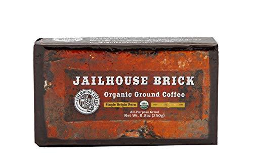 Jailhouse Organic Ground Coffee, Single Origin Peru, All Purpose Grind, 8.8 oz Vacuum Bag/Brick, Medium ()