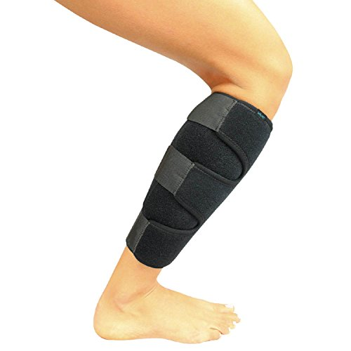 - Vive Calf Brace - Adjustable Shin Splint Support - Lower Leg Compression Wrap Increases Circulation, Reduces Muscle Swelling - Calf Sleeve for Men and Women - Pain Relief (Black)