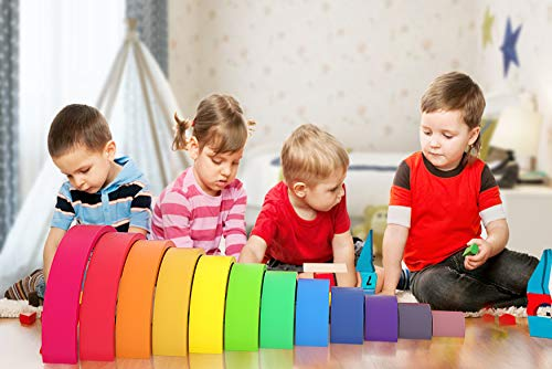 WAYES Waldorf Large 12-Piece Rainbow Tunnel Stacker Grimm's Wooden Rainbow Sunset Nesting Puzzle/Creative Sculpture Building Blocks Educational Learning Toys Gift Blocks Game for Kids Toddler Baby by WAYES (Image #6)