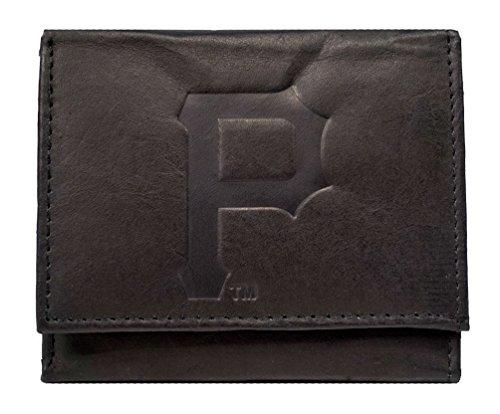 Pittsburgh Pirates MLB Embossed Logo Black Leather Trifold - Embossed Pirates Leather Pittsburgh