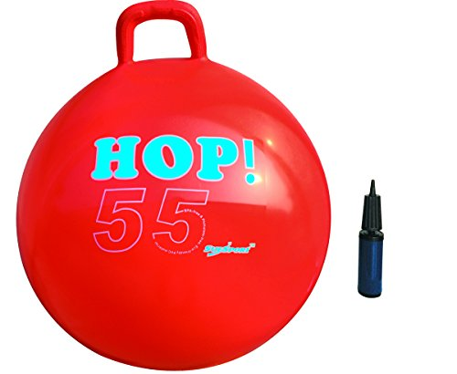 SUESPORT Hopper Ball Kit,Pump Included, 22in/55cm, Red, Hop Ball, Kangaroo Bouncer, Hoppity Hop, Sit and Bounce, Jumping Ball, 2-Size by 3-Colors Available - Gymnic Hop Ball