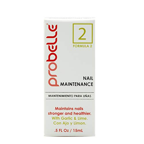 Probelle Formula 2 Nail Maintenance with Garlic and Lime, Nail Hardener and Strengthener with Fungal Protection and Color protection .5 fl oz/ 15 mL
