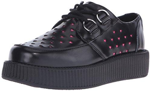 T.U.K. Shoes Women's Black Perforated Heart Viva Creeper Black